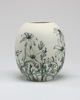 Flannel Flowers - porcelain with hand drawn underglaze pencil