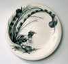 Lyre bird - porcelain with handpainted underglaze, diameter 26cm